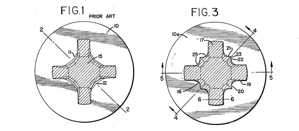 A side-by-side comparison taken from the 1959 Pozidriv patent, showing of the designs for Phillips (Fig. 1) and Pozi (Fig. 3) drives.